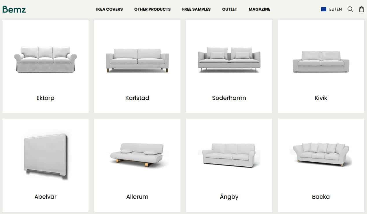 Vaihtopäällisiä on saatavilla useimpiin IKEA-malleihin.