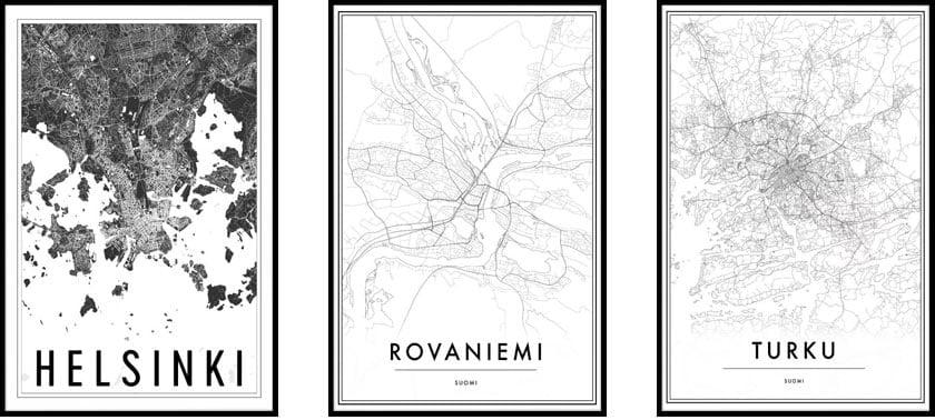 Artiksin kaupunkien karttajulisteet ovat suosittu sisustuselementti monissa kodeissa
